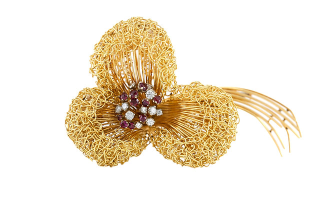 1960 Gold Brooch with Rubies and Diamonds front