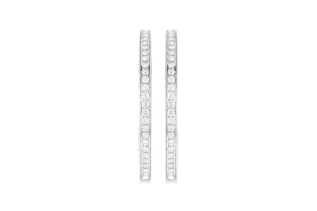 White Gold Hoop Earrings with Diamonds front