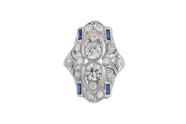 1930s Diamond and Sapphire Ring