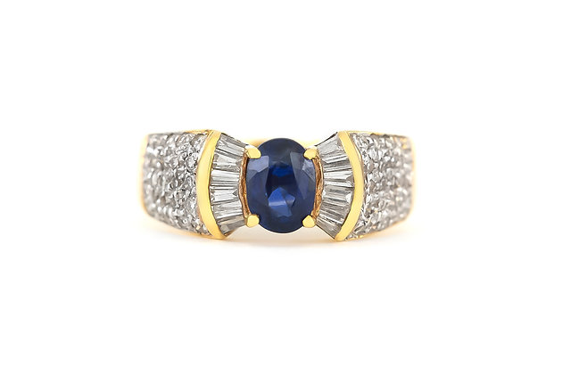 Bow Tie Shaped Ring with Center Sapphire and Diamonds top