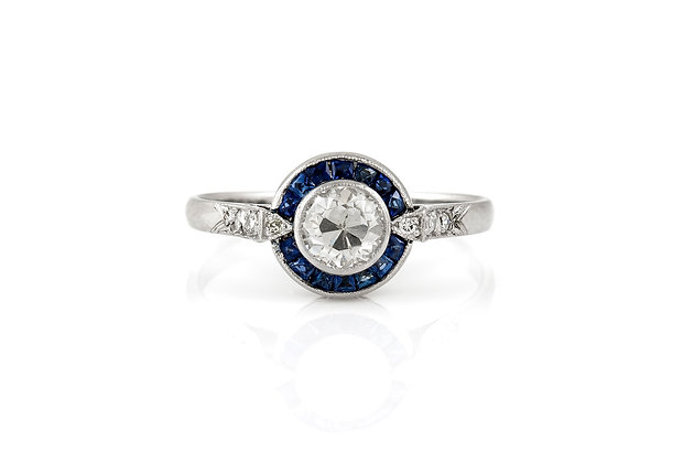 Center Diamond Ring With Sapphire front