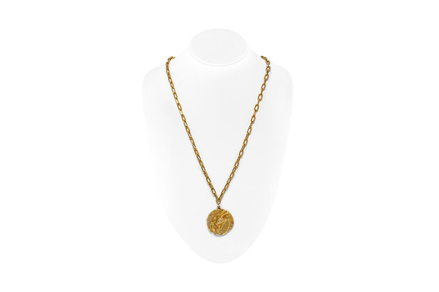 Tiffany & Co. Gold Zodiac Pendant Chain Necklace Front View