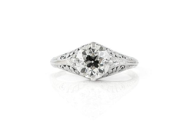 1.70 Carat Antique Edwardian Engagement Ring top view