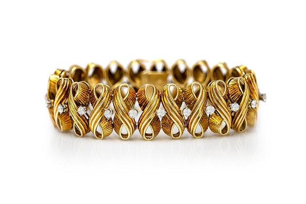 1960's Diamond Gold Bracelet Front View