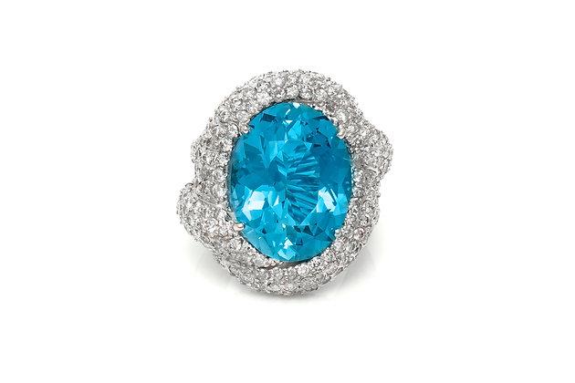 Aquamarine Diamond RIng Front View