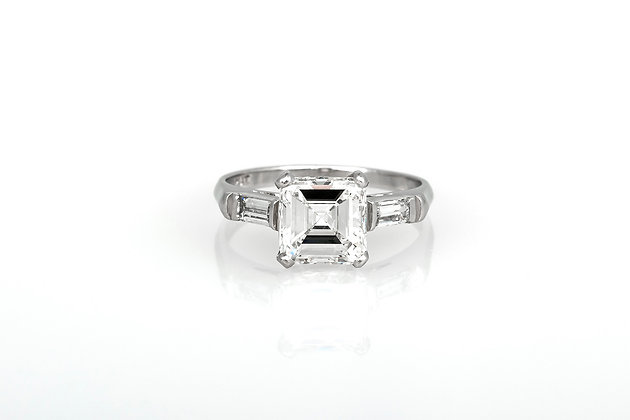 1.95 Carat Square Emerald Cut Diamond Engagement Ring front view