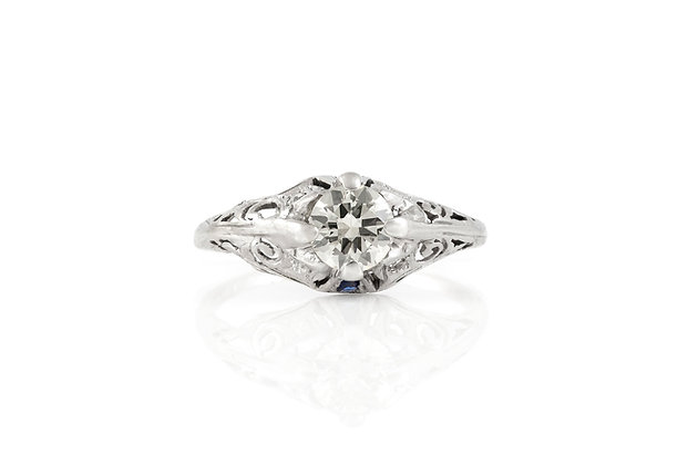 Engagement Ring 0.67 Carat Art Deco Top