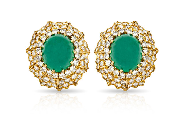 David Webb Emerald Diamond Clip-on Earrings Front View