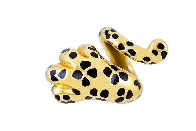 Dior Mitza Yellow Gold Leopard Paw Wrap Ring