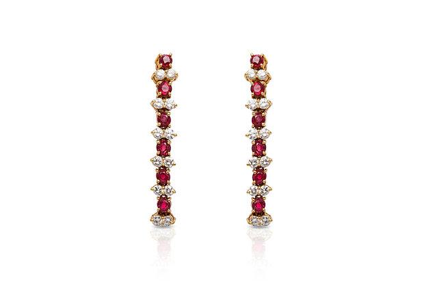 Ruby Diamonds Drop Earrings Front View