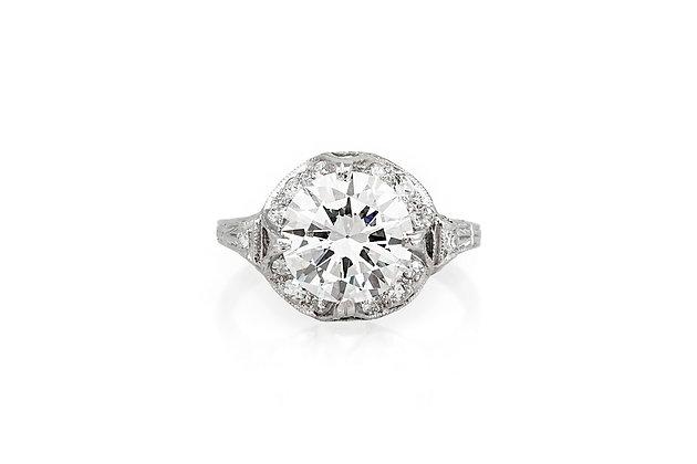 2.65 Carat Art Deco Engagement Ring top view