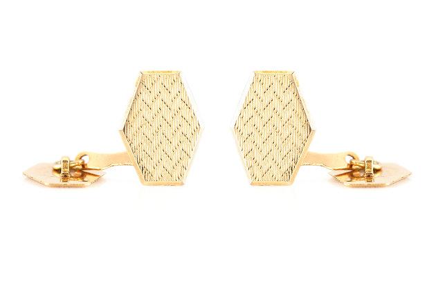 Hexagon Gold Cufflinks front