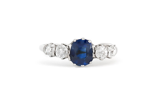 Five-Stone Ring with Center Sapphire top