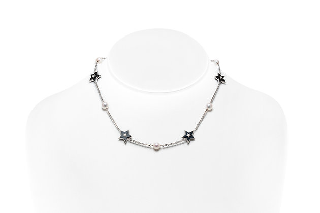 Chanel Onyx Pearl Diamond Stars Necklace On Neck View
