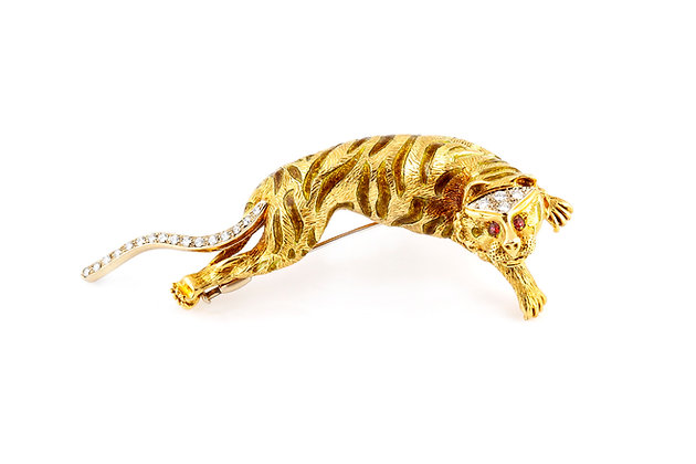 Gold Tiger Brooch Front View
