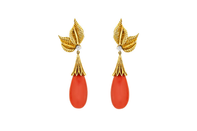 Coral and Diamond Drop Earrings