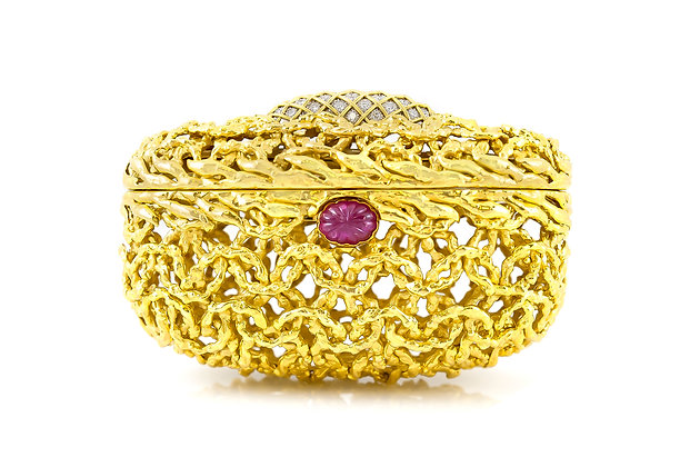 David Webb Gold Clutch with Ruby and Diamonds front