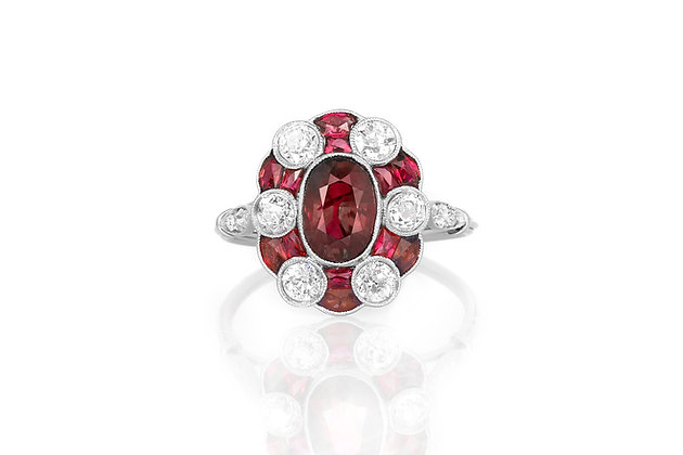 Ruby & Diamond Cluster Ring top view