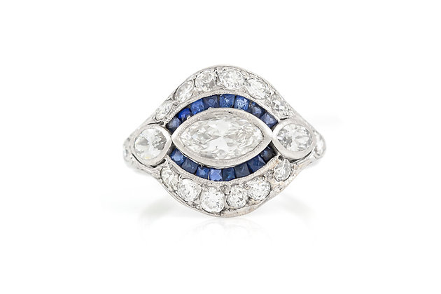 2.10 Carat Diamond and Sapphire Ring top view