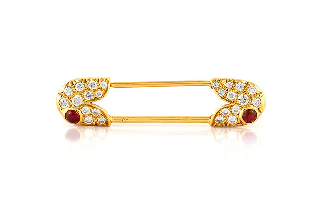Van Cleef & Arpels Diamond Safety Pin Brooch Front View