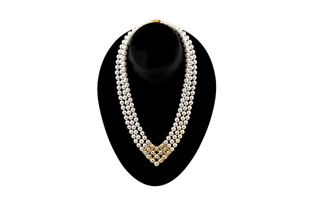 Pearl Diamond Necklace Front View