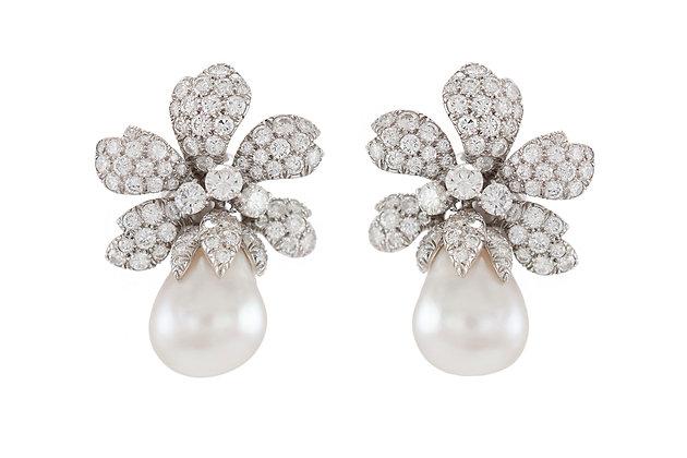 David Webb South Sea Pearl Earrings with Diamonds