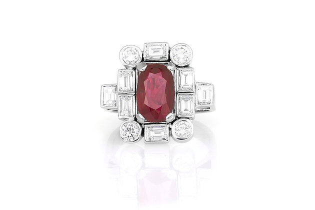 Art Deco Ruby & Diamond Ring top view