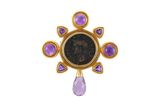 Elizabeth Locke 18 Karat Yellow Gold Coin Pin with Amethyst