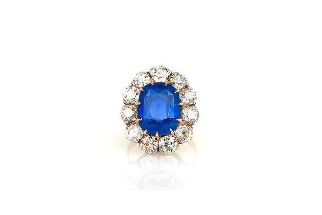 7.00 Carat AGL Sapphire Cluster Ring top view