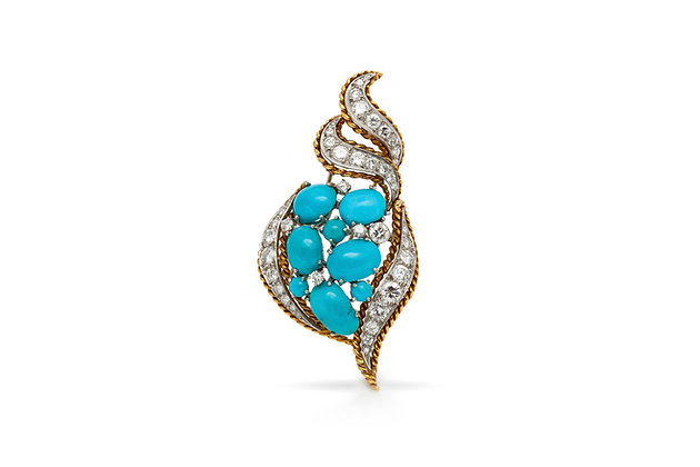 Turquoise Diamond Brooch Front View