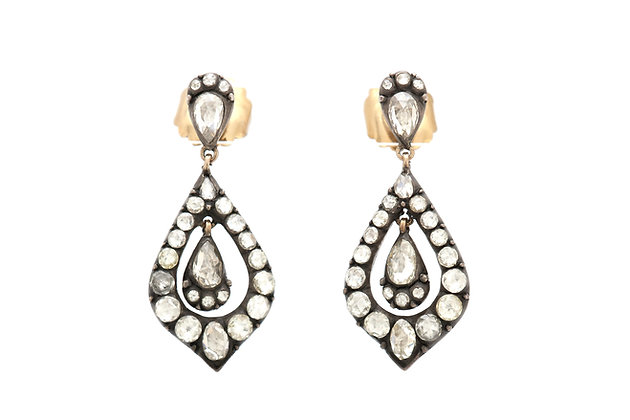 Georgian 3.71 Carat Diamond Drop Earrings front view