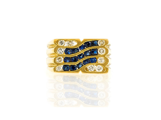 Diamond and Sapphire Men Ring