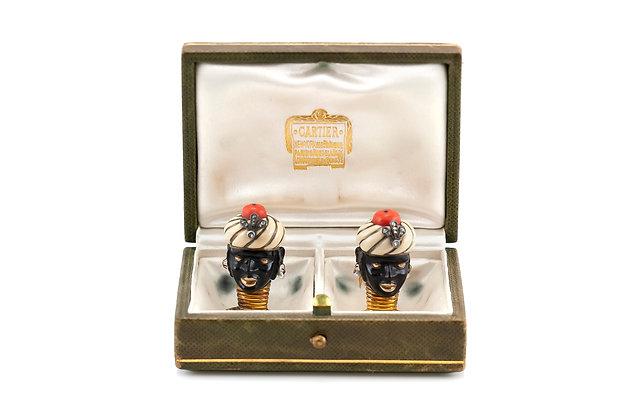 Cartier Blackamoor Brooch with Enamel, Coral and Diamonds