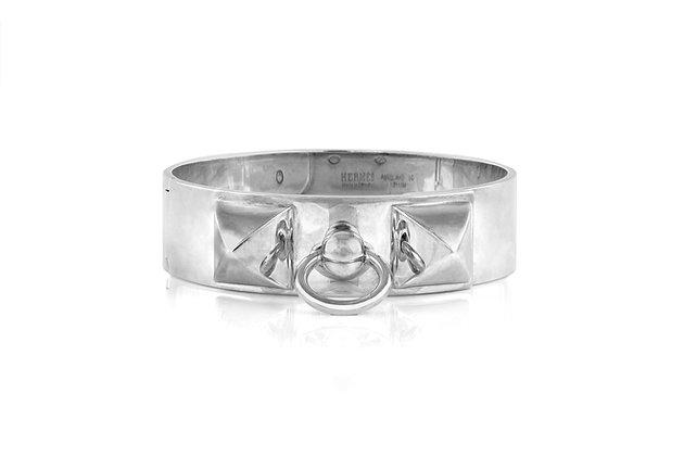 Sterling Silver Collier de Chien Cuff Bracelet Front View