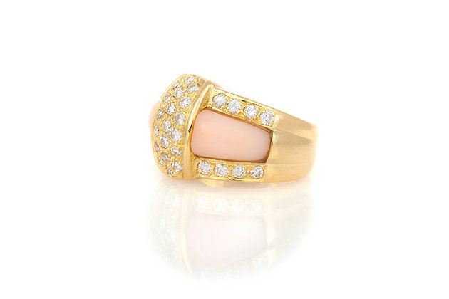 Van Cleef & Arpels Blush Coral Diamond and Gold Ring side view