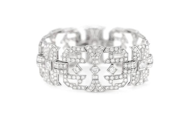 French 1930's Platinum Bracelet with Diamonds