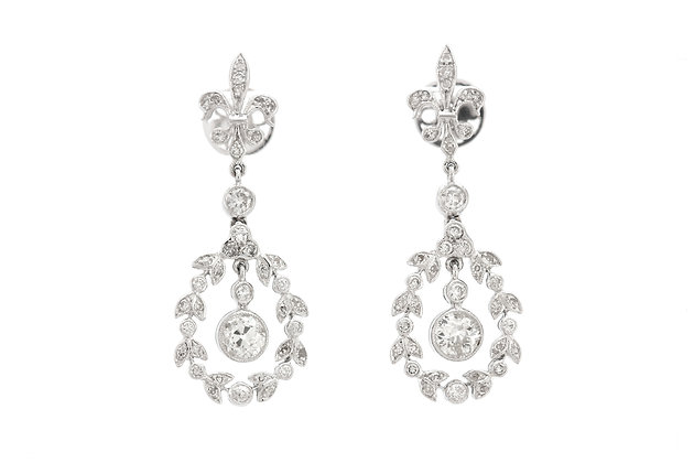 2.50 Carat Diamonds Dangle Earrings front view