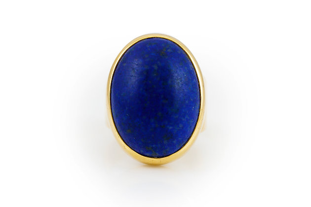 Oval Lapis Gold Cocktail Ring top