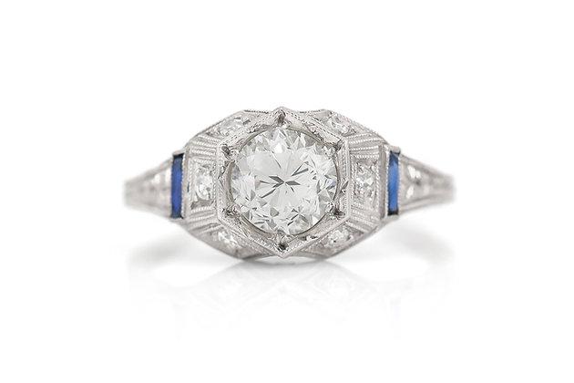 1.27 Carat Art Deco Engagement Ring top view