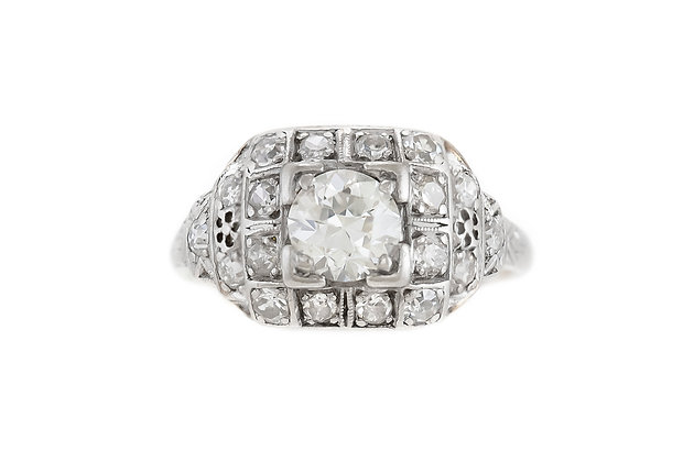1950s Engagement Ring with 0.70 Carat Diamond
