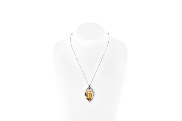 1920's Citrine Necklace With Pearls And Diamonds