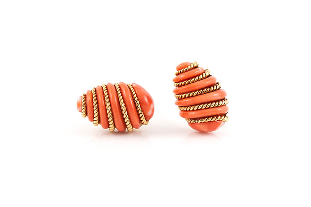 Verdura Coral Gold Wrapped Earrings front view