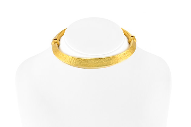 Lalaounis 22K Hammered Gold Choker Necklace