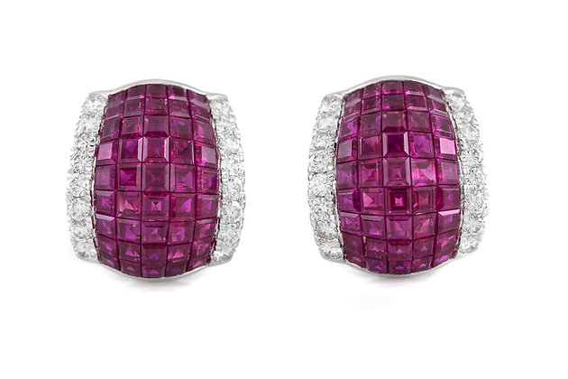 Oscar Heyman Ruby and Diamonds Earrings front view