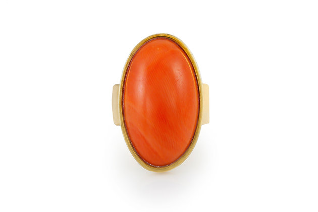 Oval Coral Cocktail Ring top