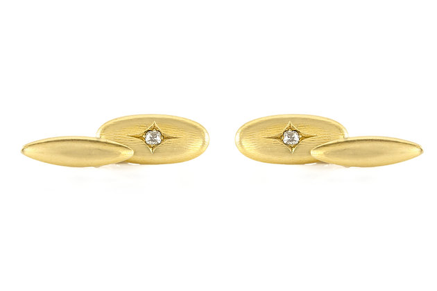 Oval Gold Cufflinks with Diamond front