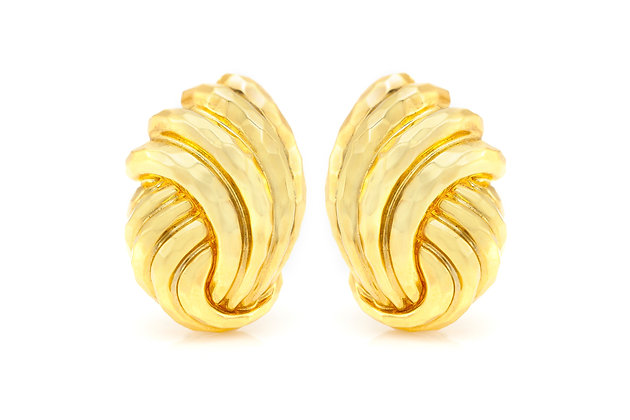 Henry Dunay 18 Karat Shrimp Clip-On Earrings front view