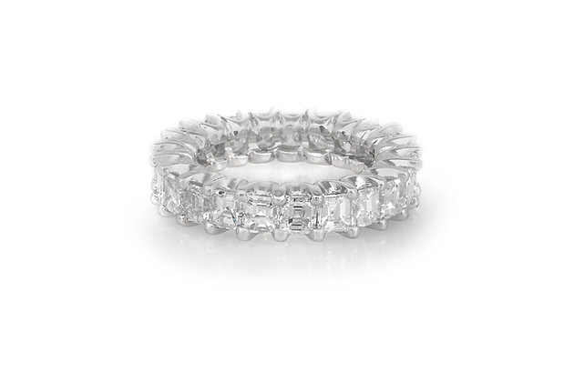 5.60 Carat Square Emerald Cut Diamond Eternity Band