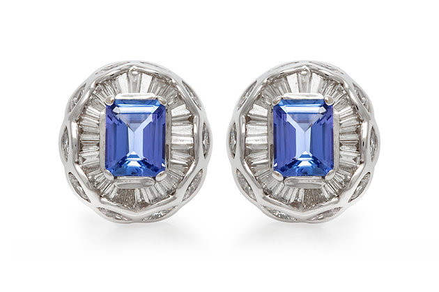 Tanzanite Diamonds Clip-On Earrings Front View