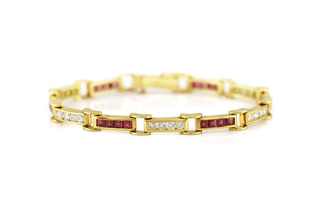 1980s Ruby and Diamond Link Bracelet